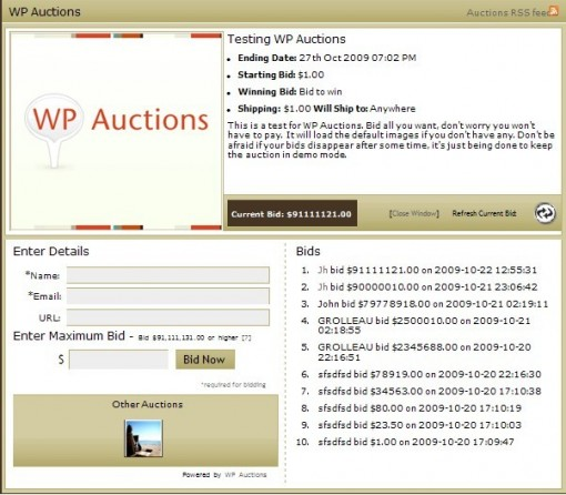 Wp Auctions - (free and gold version)