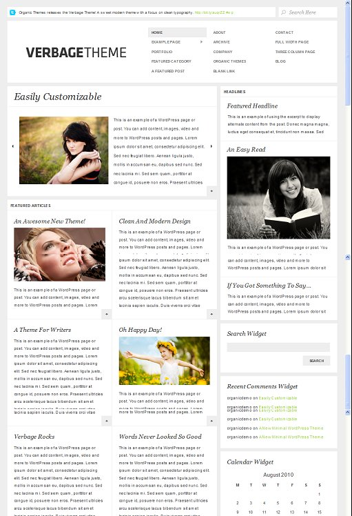 Organic Verbage WordPress theme