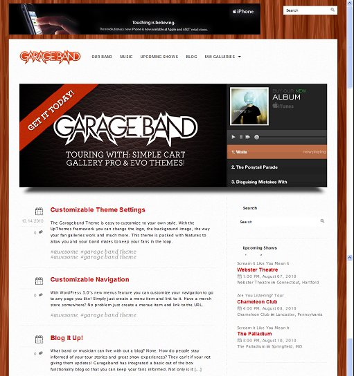 UpThemes Garage Band WordPress Theme
