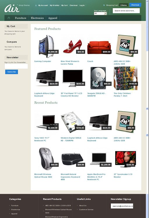Woothemes Air Magento Theme