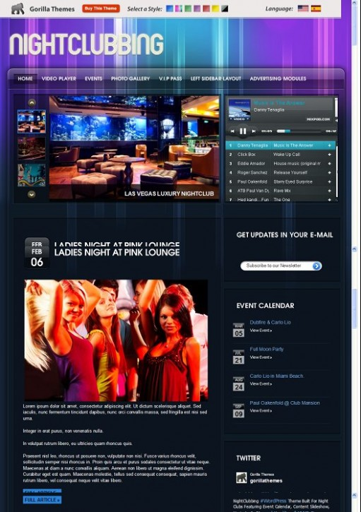 Gorilla Themes Night Clubbing WordPress Theme