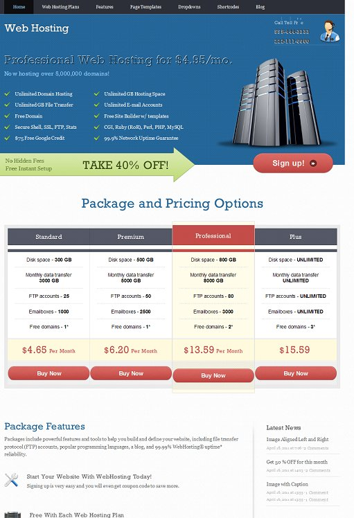 Templatic WebHosting WordPress Theme