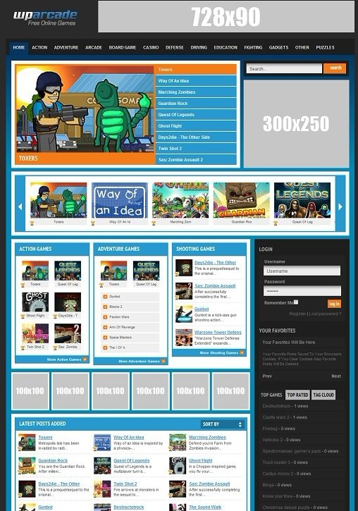 WPArcade BuildWPA WordPress Arcade Theme