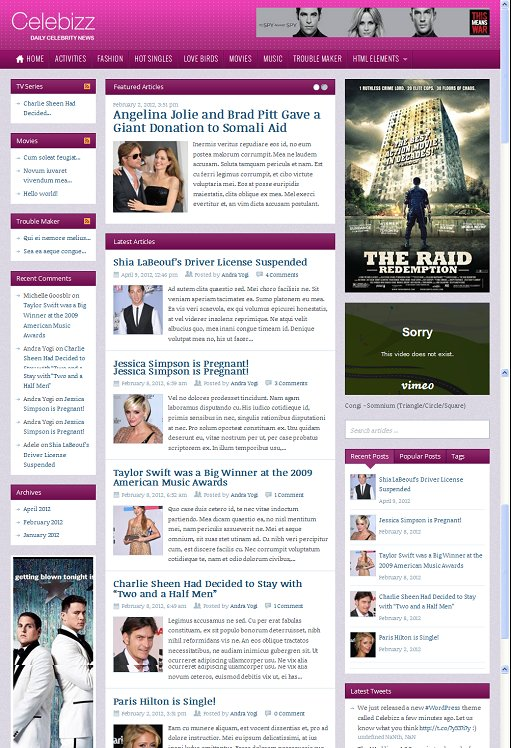 ThemeWarrior Celebizz WordPress Theme