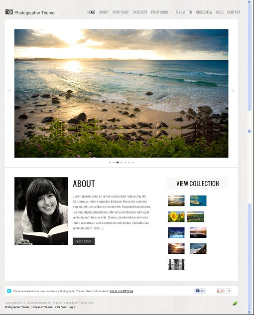 Organic Photographer Premium WordPress Theme