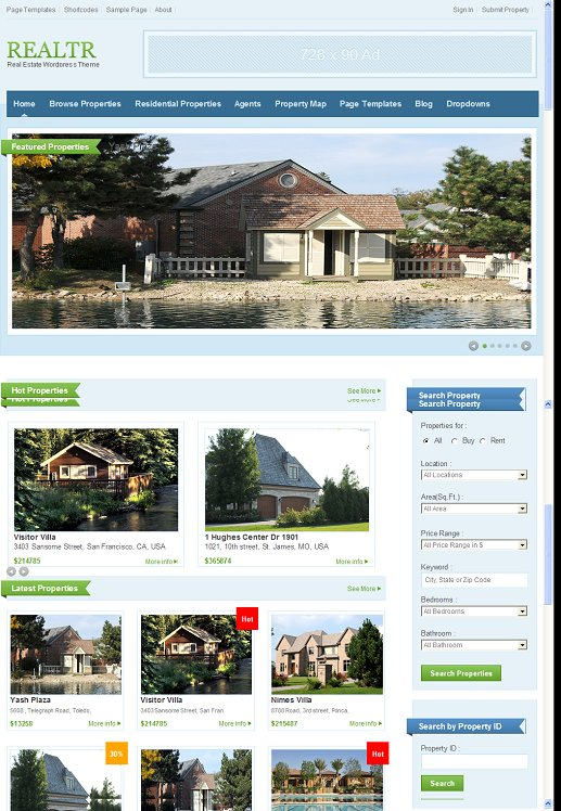 Templatic Realtr WordPress Real Estate Theme