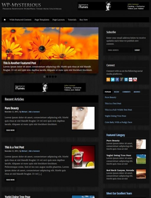 Solostream WP-Mysterious WordPress Theme 