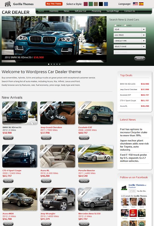 Gorilla Themes Car Dealer WordPress Theme