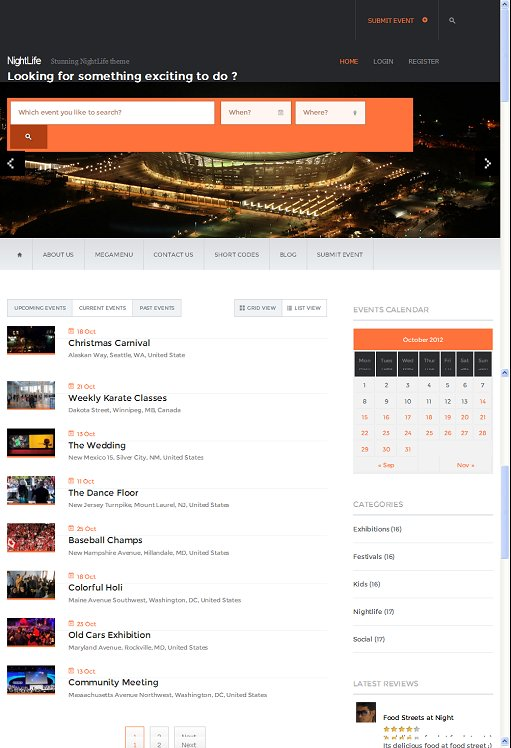 Templatic Nightlife Events WordPress Theme
