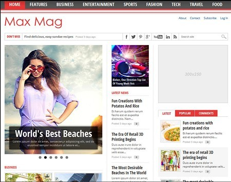 MVP Themes Max Mag Responsive Multimedia WordPress Theme