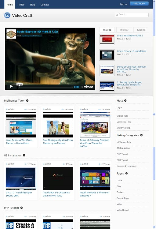 InkThemes VideoCraft WordPress Theme