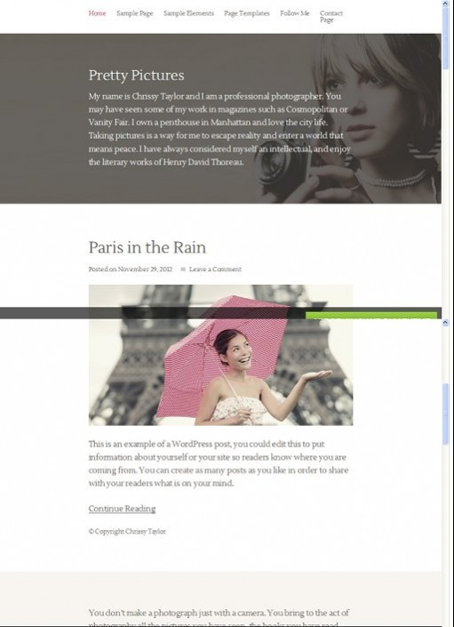 StudioPress Pretty Pictures WordPress Child Theme