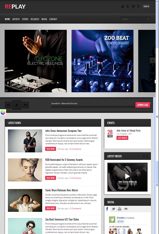 Themex Replay Responsive Music WordPress Theme