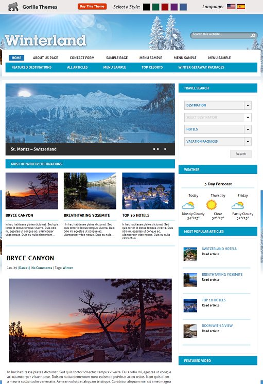 Gorilla Themes Winterland WordPress Theme
