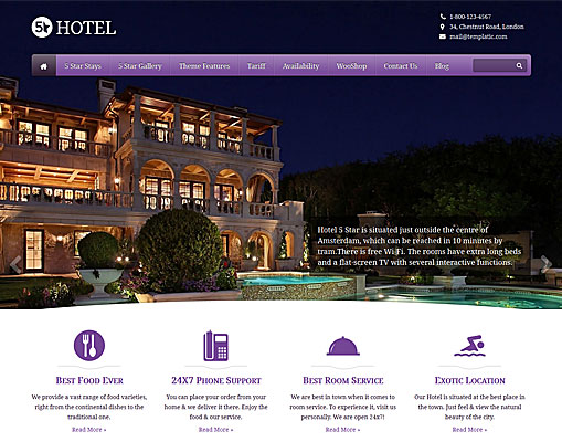 Templatic 5 Star Hotel WordPress Theme