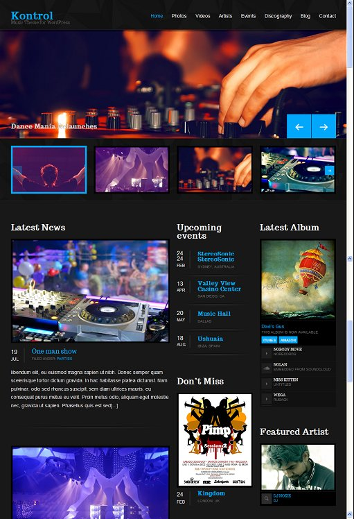 Kontrol Music WordPress Theme
