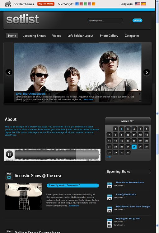 Setlist Music WordPress Theme