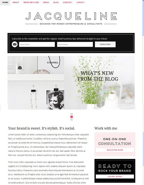 BluChic Jacqueline Women Business WordPress Theme