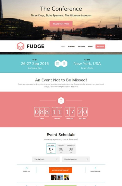 Fudge Premium Conference WordPress Theme