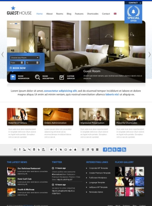 Ait Themes Guesthouse Hotel & Sport WordPress Theme