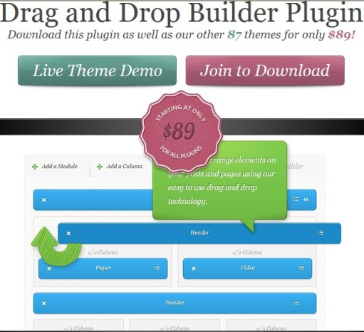 Elegant Themes Builder Drag and Drop Builder Plugin