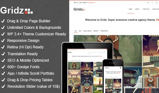 Gridz is premium drag&drop page builder wordpress theme
