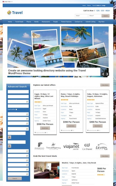 Travel Directory WordPress Theme - Templatic