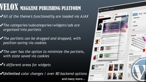 VELOX Ajaxified Drag & Drop Magazine WordPress Theme