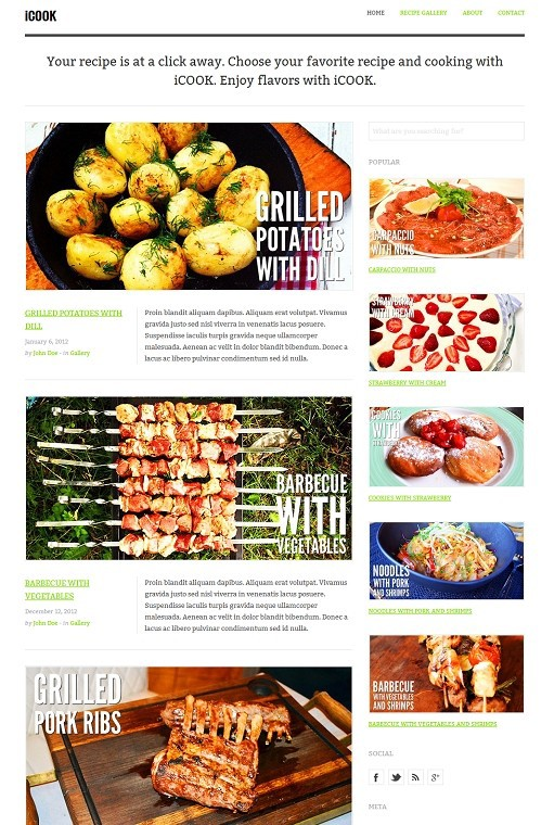 TeslaThemes iCook WordPress Theme