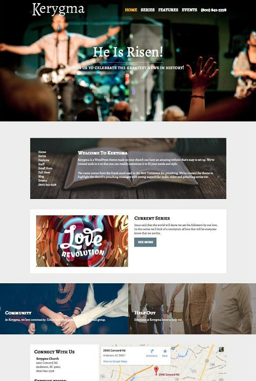 Kerygma Church WordPress Theme by Organized Themes