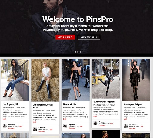 PageLines PinsPro Pinterest Style WordPress Theme