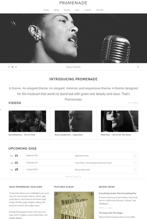 AudioTheme Promenade WordPress Music Theme