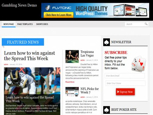 Flytonic Gambling News WordPress Theme