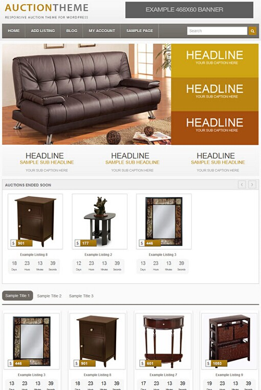 Responsive Auction WordPress Theme From PremiumPress