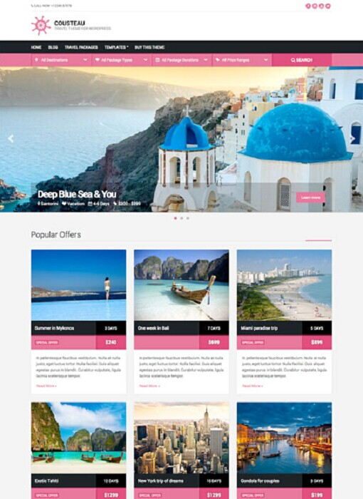 CSSIgniter Cousteau Travel WordPress Theme