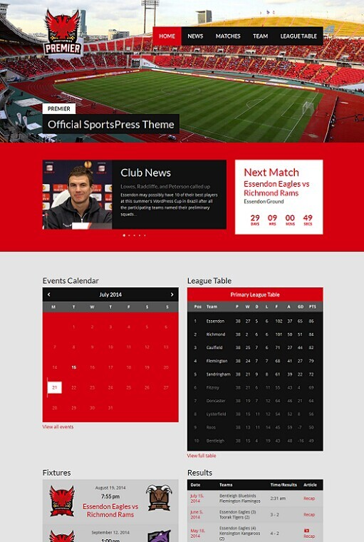 ThemeBoy Premier Sports WordPress theme