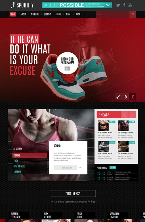 Sportify Gym/Fitness WordPress Theme
