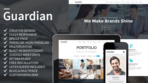 Guardian One Page Business WordPress Theme