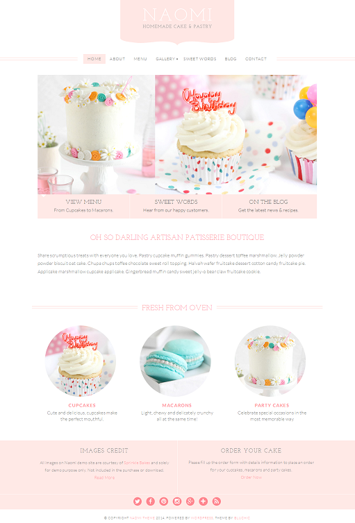 BluChic Naomi Pastry and Cupcake WordPress Theme