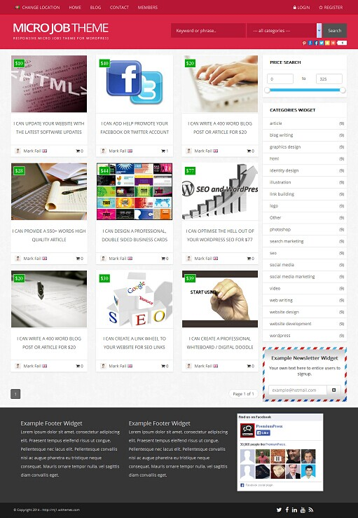 PremiumPress Responsive Micro Jobs Theme (WordPress)