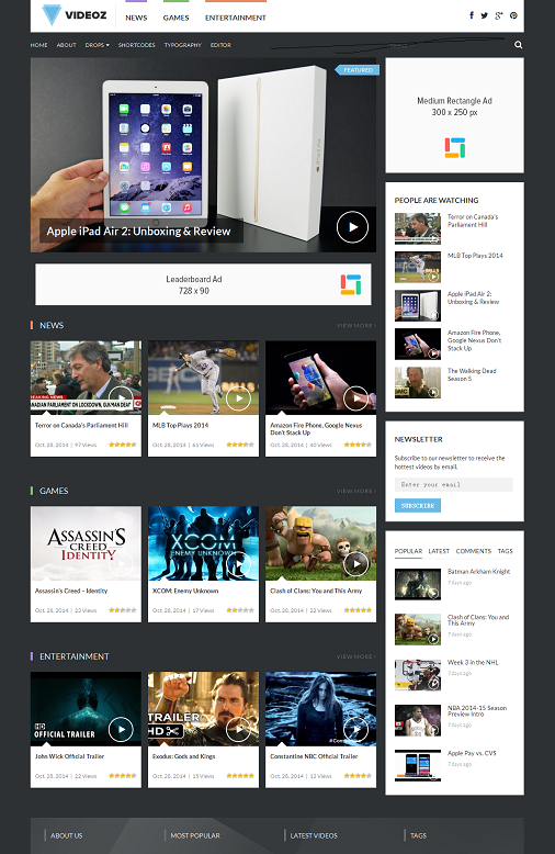 Theme Junkie VideoZ WordPress Video Theme