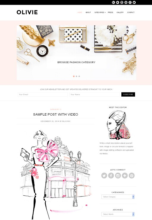 Bluchic Olivie WordPress Theme