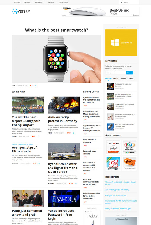 Theme Junkie Mystery Newspaper Style WordPress Theme