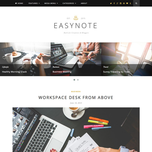 Theme Junkie EasyNote Personal Blog WordPress Theme