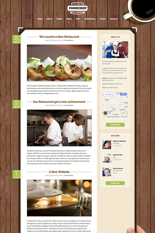 Foodchop WordPress Theme for Restaurant & Cafe