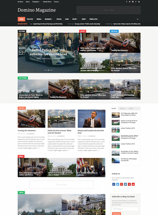 WPZOOM Domino Magazine WordPress Theme