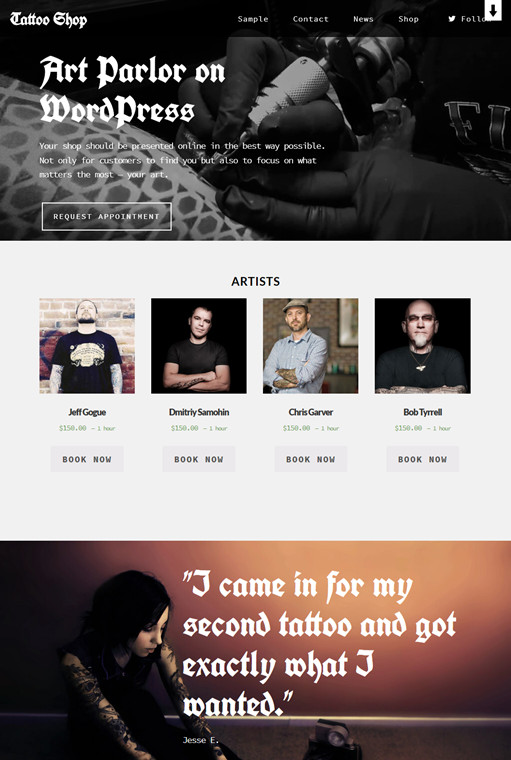 BizzThemes Tattoo Shop WordPress Tattoo Theme